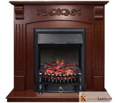 Угловой каминокомплект Sorrento (орех) с очагом Fobos FX Black от Royal Flame