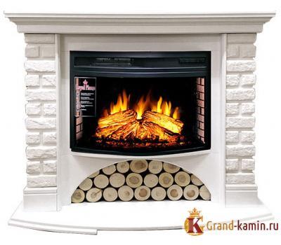 Каминокомплект Village (белый) с очагом Dioramic 25 FX от Royal Flame