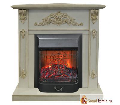 Угловой каминокомплект Anita corner  (белый дуб с патиной) с очагом Majestic Lux BL S от Real Flame