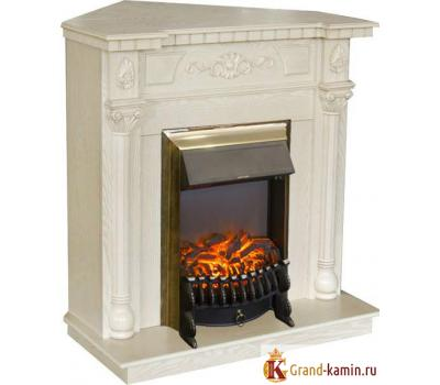 Угловой каминокомплект Dacota Corner (белый дуб) с очагом Fobos Lux BR S от Real Flame