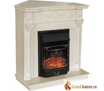 Угловой каминокомплект Dacota Corner (белый дуб) с очагом Majestic Lux BL S от Real Flame