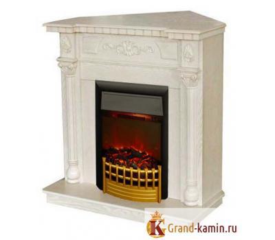 Угловой каминокомплект Dacota Corner (белый дуб) с очагом Rimini от Real Flame