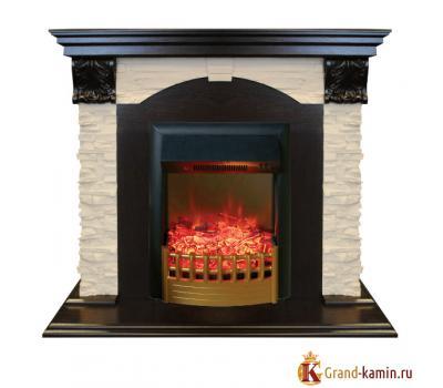 Каминокомплект Dublin Lux (темный орех) с очагом Rimini от Real Flame