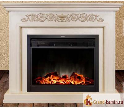 Каминокомплект Leticia 26 (белый с коричневой патиной) с очагом Moonblaze Lux S Bl от Real Flame