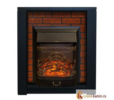 Каминокомплект Skagen кирпич (темный орех) с очагом Majestic-S Lux от Real Flame
