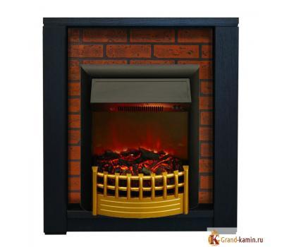 Каминокомплект Skagen кирпич (темный орех) с очагом Rimini от Real Flame