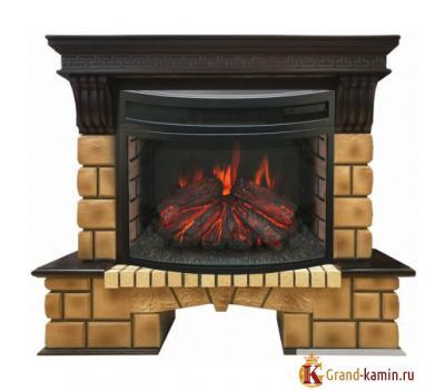 Каминокомплект Stone Brick (античный дуб) с очагом FireField 25 S IR от Real Flame