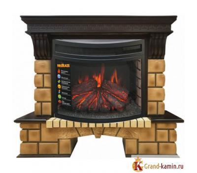 Каминокомплект Stone Brick (античный дуб) с очагом Firespace 25 от Real Flame