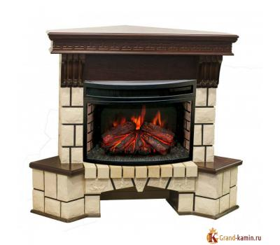 Каминокомплект Stone Corner New (античный дуб) с очагом FireField 25 S IR от Real Flame